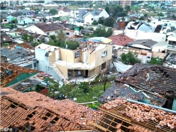 Cerca de 40% da cidade foi atingida (Foto: Defesa Civil de Santa Catarina/Divulgação)