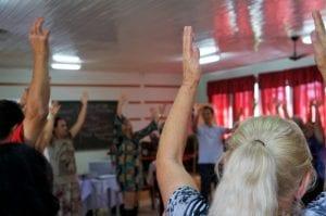Além do conteúdo teórico, os participantes do Curso de Justiça Restaurativa, tiveram momentos de celebração e integração (Foto: Marcelo Luiz Zapelini/Agência Sul 4)